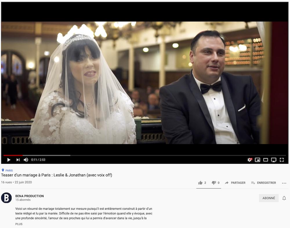 Aperçu Youtube : Leslie & Jonathan